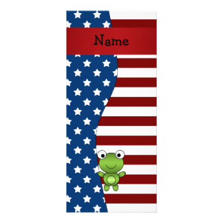 Personalized name Patriotic frog Custom Rack Cards