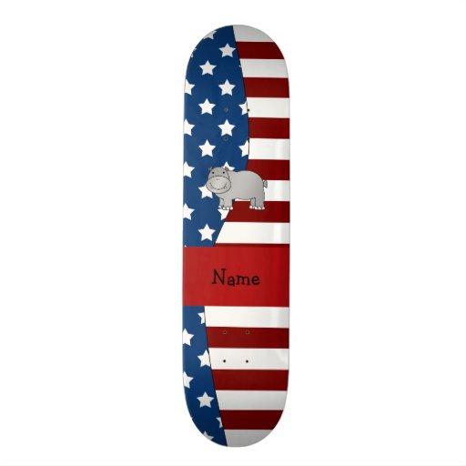 Personalized name Patriotic hippo Custom Skate Board