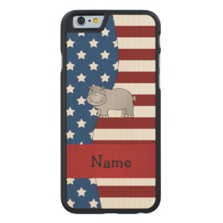 Personalized name Patriotic hippo Carved® Maple iPhone 6 Slim Case