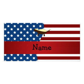 Personalized name Patriotic honey badger Picture Card