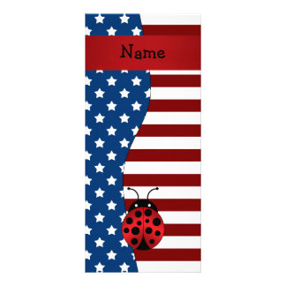 Personalized name Patriotic ladybug Rack Card Template
