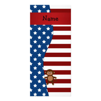 Personalized name Patriotic monkey Rack Card Design