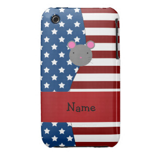 Personalized name Patriotic mouse iPhone 3 Case-Mate Cases