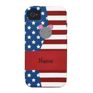 Personalized name Patriotic mouse iPhone 4 Covers