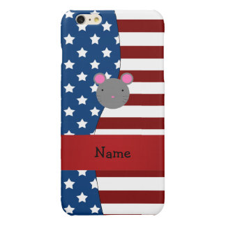 Personalized name Patriotic mouse Glossy iPhone 6 Plus Case
