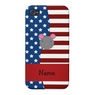 Personalized name Patriotic mouse iPhone 4/4S Case