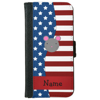 Personalized name Patriotic mouse iPhone 6 Wallet Case
