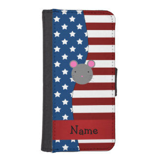 Personalized name Patriotic mouse iPhone 5 Wallet Case