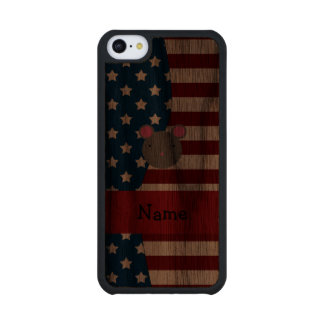 Personalized name Patriotic mouse Carved® Walnut iPhone 5C Case