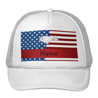 Personalized name Patriotic narwhal Trucker Hat