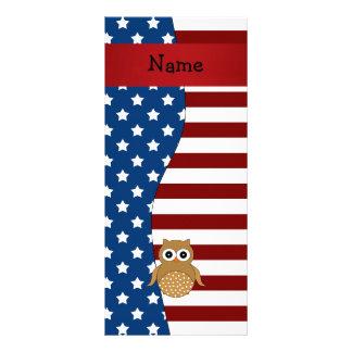 Personalized name Patriotic owl Custom Rack Card