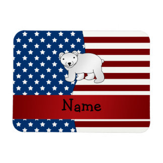 Personalized name Patriotic polar bear Magnet