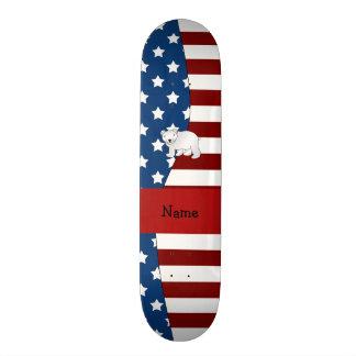 Personalized name Patriotic polar bear Custom Skateboard