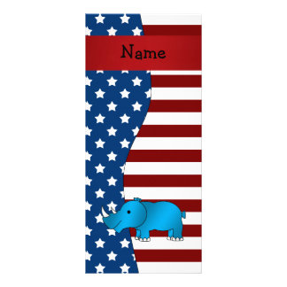 Personalized name Patriotic rhino Rack Card Template