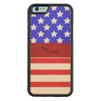 Personalized name patriotic stripes carved maple iPhone 6 bumper case