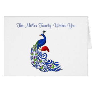 Personalized Name Peacock Christmas Card