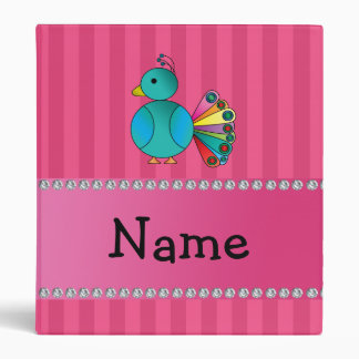 Personalized name peacock pink stripes binder