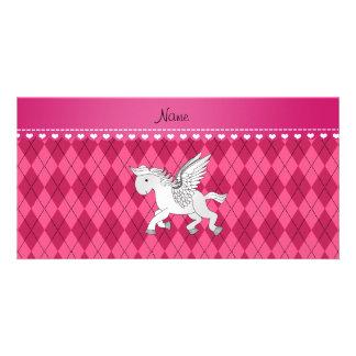 Personalized name pegasus pink argyle personalized photo card