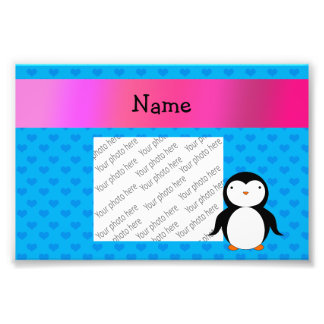 Personalized name penguin blue hearts photographic print