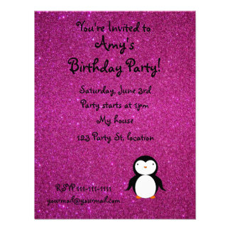 Personalized name penguin pink glitter personalized invitations
