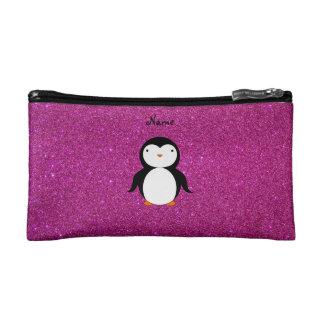 Personalized name penguin pink glitter makeup bag