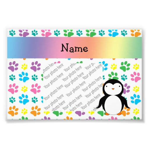 Personalized name penguin rainbow paws photo