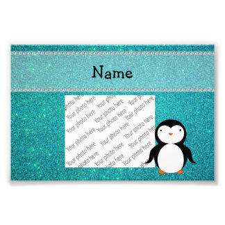 Personalized name penguin turquoise glitter photographic print
