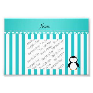 Personalized name penguin turquoise white stripes photo