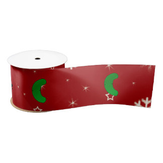 Personalized name pickle red snowflakes satin ribbon