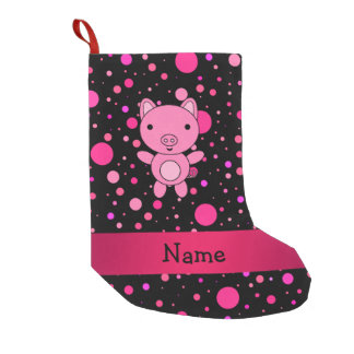 Personalized name pig black pink polka dots small christmas stocking