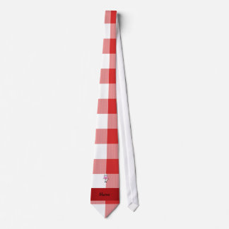 Personalized name pig chef red white checker tie