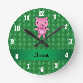 Personalized name pig green christmas trees round clock