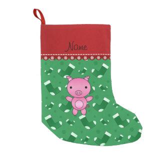 Personalized name pig green santa stockings small christmas stocking