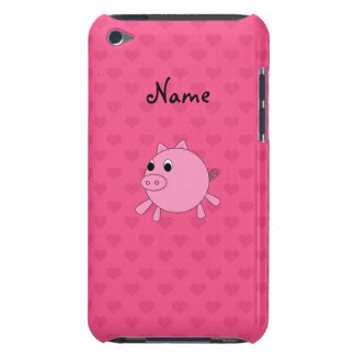 Personalized name pig pink hearts barely there iPod cases