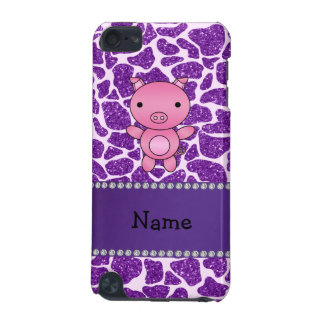 Personalized name pig purple glitter giraffe print iPod touch (5th generation) cases
