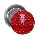Personalized name pig red candy canes button
