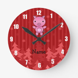 Personalized name pig red christmas trees stripes round clock