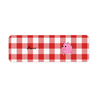 Personalized name pig red gingham pattern
