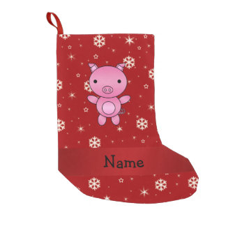 Personalized name pig red snowflakes small christmas stocking