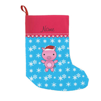 Personalized name pig sky blue snowflakes small christmas stocking