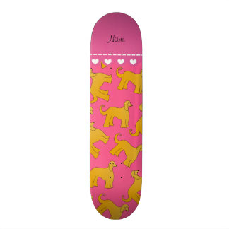 Personalized name pink afghan hound dogs skate boards