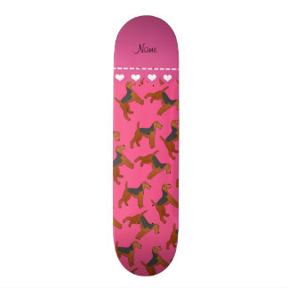 Personalized name pink airedale terriers dogs custom skate board
