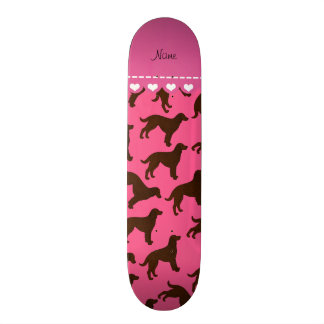 Personalized name pink american water spaniels skateboard deck