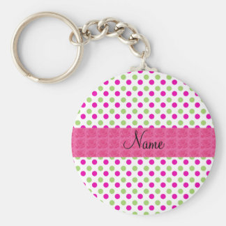 Personalized name pink and green polka dots basic round button keychain