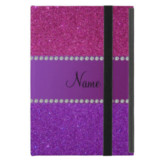 Personalized name pink and purple glitter case for iPad mini