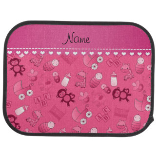 Personalized name pink baby animals floor mat