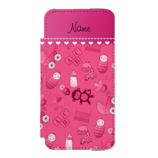 Personalized name pink baby animals incipio watson™ iPhone 5 wallet case