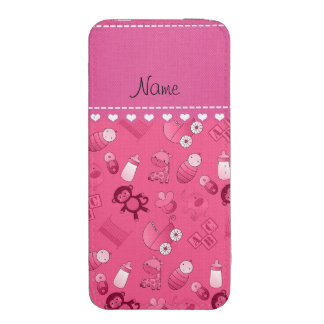 Personalized name pink baby animals iPhone pouch