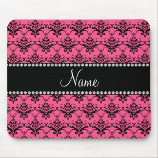Personalized name Pink black damask Mousepads