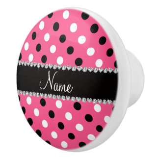 Personalized name pink black white polka dots ceramic knob